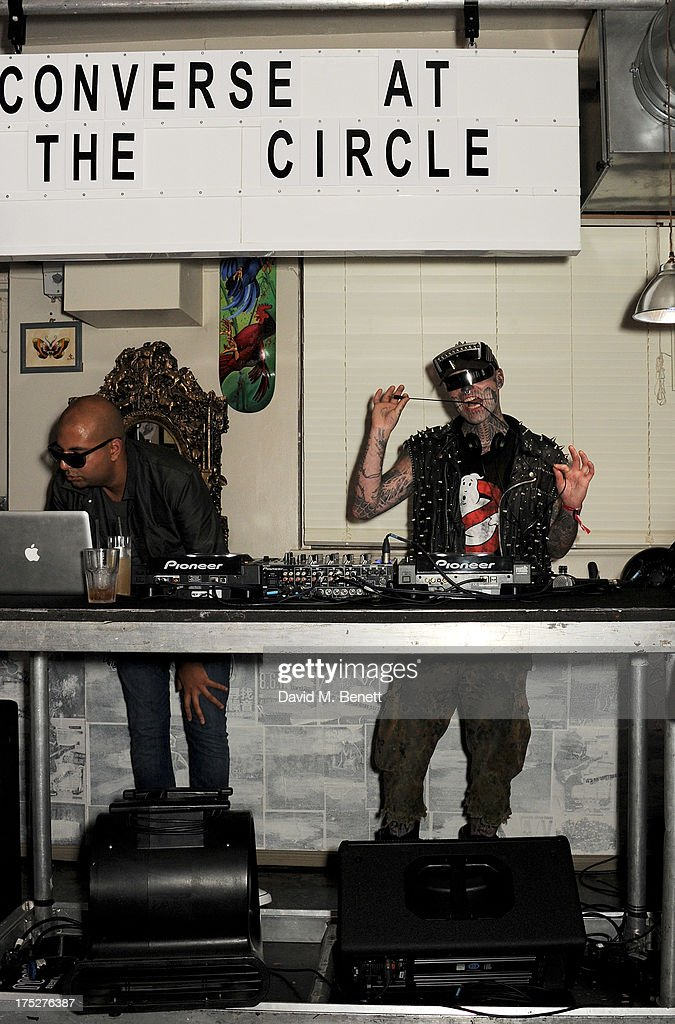 Kav and Zombie Boy DJ at Converse At The Circle, celebrating the Chuck Taylor All Star 'Rock Craftsmanship' collection, on August 1, 2013 in London, United Kingdom.
