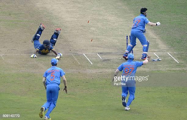 Kaveen Bandara of Sri Lanka gets run out by Rishabh Pant of India during the ICC U19 World Cup SemiFinal match between India and Sri Lanka on...