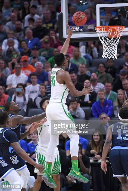 Kavell BigbyWilliams of the Oregon Ducks shoots against the Rhode Island Rams during the second round of the 2017 NCAA Men's Basketball Tournament at...