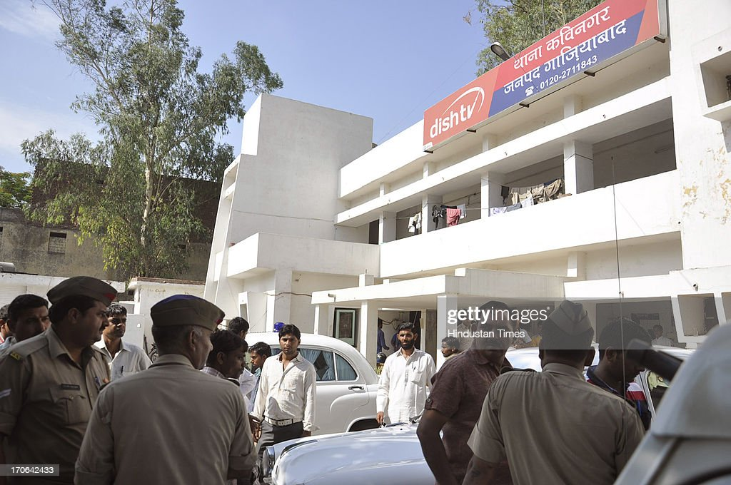 Kavi Nagar Police Station where Shakeel died last night allegedly after police beating on June 15, 2013 in Ghaziabad, India.