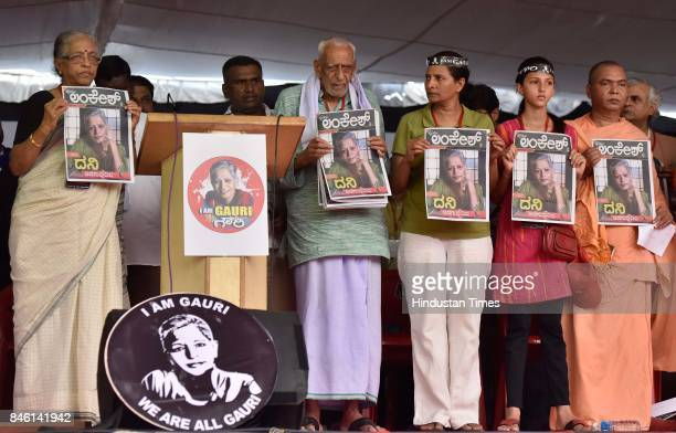 Kavita Lankesh sister of the slain journalist Gauri Lankesh HS Doreswamy along with other activists release the first edition of Lankesh Patrike...