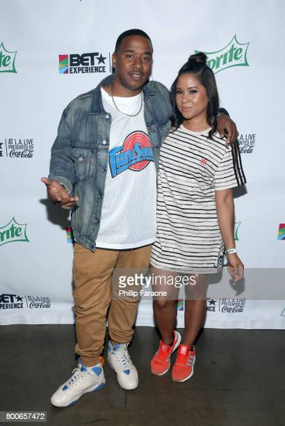 Kawan Prather and Angela Yee pose backstage at the Celebrity Basketball Game presented by Sprite and State Farm during the 2017 BET Experience at...