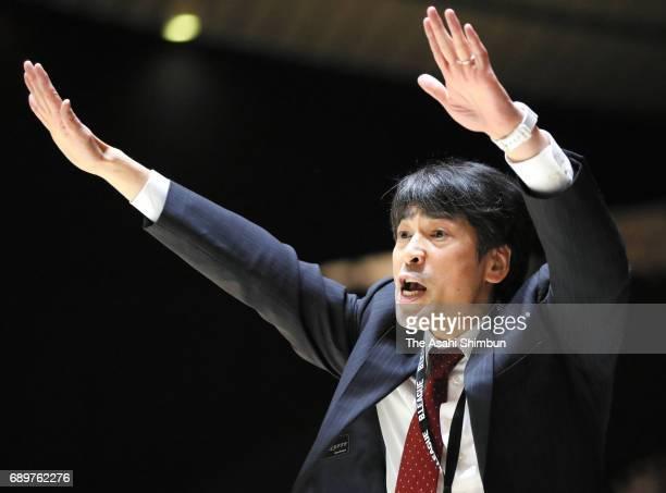 Kawasaki Brave Thunders head coach Takuya Kita gestures during the B League Championship final match between Kawasaki Brave Thunders and Tochigi Brex...