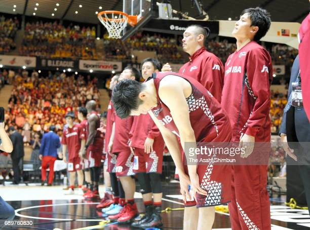 Kawasaki Brave Thunders players show dejection after their defeat in the B League Championship final match between Kawasaki Brave Thunders and...