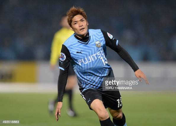 Kawasaki Frontale forward Yoshito Okubo reacts after scoring his first goal against Ulsan Hyundai during their AFC Champions League 2014 Group H...
