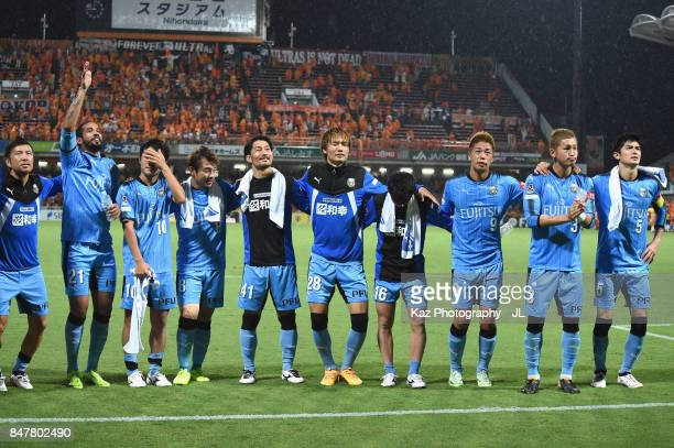 Kawasaki Frontale players appluad supporters after their 30 victory in the JLeague J1 match between Shimizu SPulse and Kawasaki Frontale at IAI...
