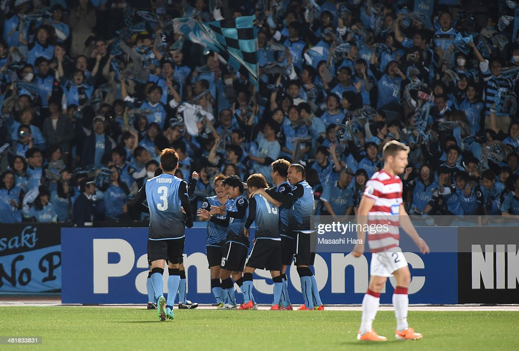 Kawasaki Frontale players celebrate the second goal during the AFC Champions League Group H match between Kawasaki Frontale and Western Sydney Wanderers at Todoroki Stadium on April 1, 2014 in Kawasaki, Japan.