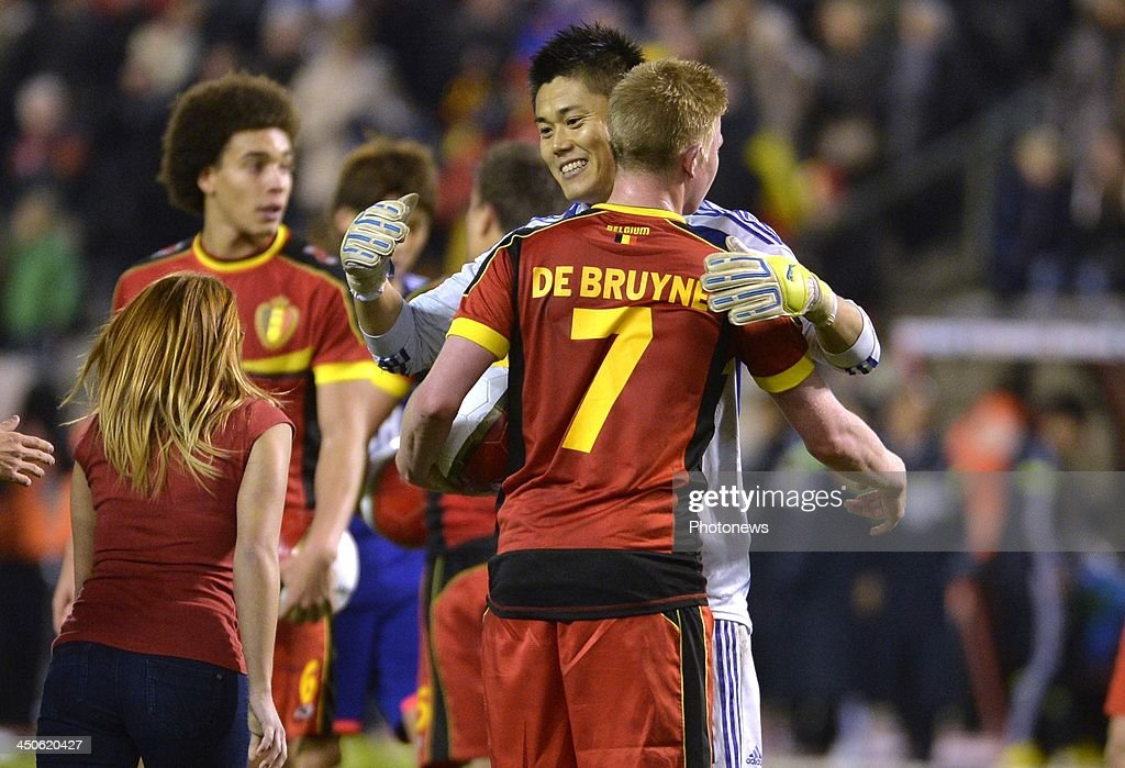 Kawashima Eiji Goalkeeper of Royal Standard de Liege (Belgium) - Kevin De Bruyne of Chelsea FC pictured during the international friendly match before the World Cup in Brasil between Belgium and Japan on November 19, 2013 in Brussels, Belgium