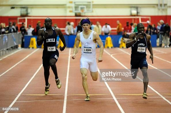 Kawayne Fisher of Lincoln Joe Horn of Ashland and Dane Hyatt of Lincoln compete in the men's 200 meter dash during the Division II Winter Sports...