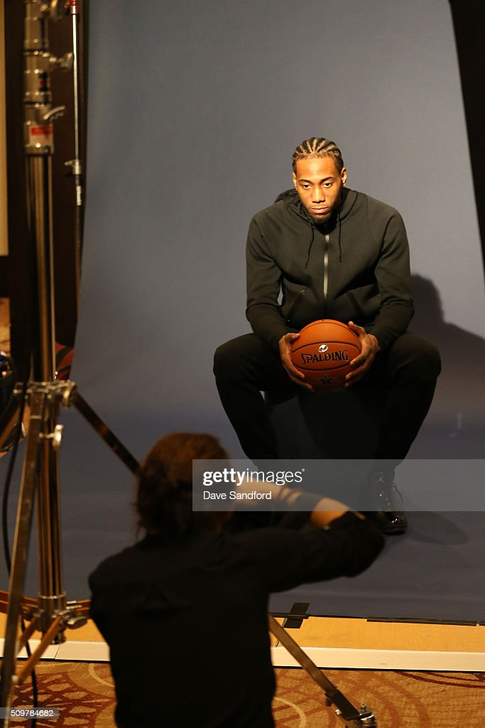 <a gi-track='captionPersonalityLinkClicked' href=/galleries/search?phrase=Kawhi+Leonard&family=editorial&specificpeople=6691012 ng-click='$event.stopPropagation()'>Kawhi Leonard</a> #2 of the San Antonio Spurs behind the scenes of NBAE Circuit as part of 2016 NBA All-Star Weekend at the Sheraton Centre Toronto Hotel on February 12, 2016 in Toronto, Ontario, Canada.