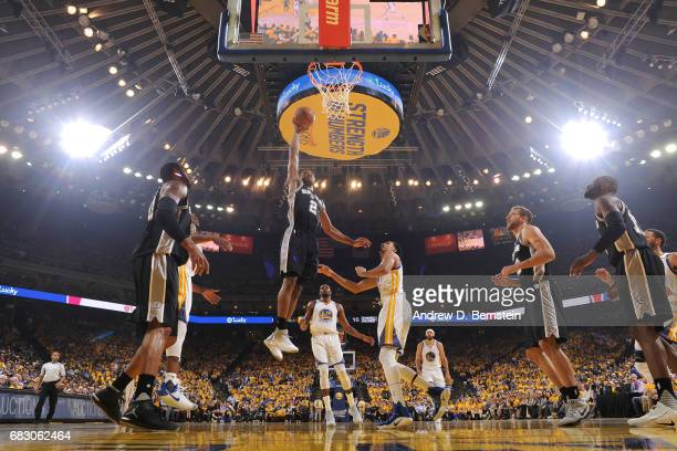 Kawhi Leonard of the San Antonio Spurs dunks against the Golden State Warriors in Game One of the Western Conference Finals of the 2017 NBA Playoffs...