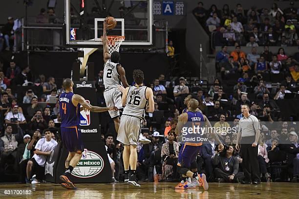 Kawhi Leonard of the San Antonio Spurs dunks the ball against the San Antonio Spurs as part of NBA Global Games at Arena Ciudad de Mexico on January...