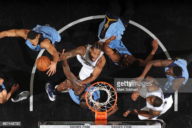 Kawhi Leonard of the San Antonio Spurs goes to the basket against the Memphis Grizzlies on April 4 2017 at the ATT Center in San Antonio Texas NOTE...