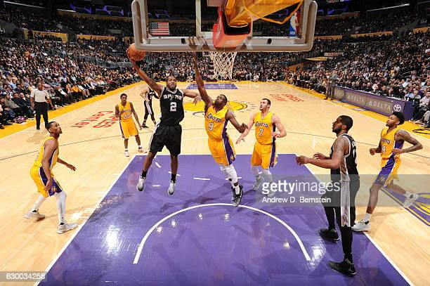 Kawhi Leonard of the San Antonio Spurs goes up for a lay up against the Los Angeles Lakers on November 18 2016 at STAPLES Center in Los Angeles...