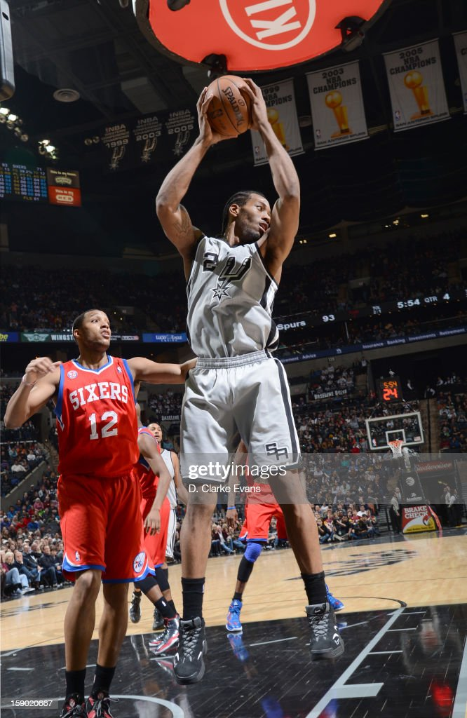 <a gi-track='captionPersonalityLinkClicked' href=/galleries/search?phrase=Kawhi+Leonard&family=editorial&specificpeople=6691012 ng-click='$event.stopPropagation()'>Kawhi Leonard</a> #2 of the San Antonio Spurs handles the ball during the game between the Philadelphia 76ers and the San Antonio Spurs on January 5, 2013 at the AT&T Center in San Antonio, Texas.