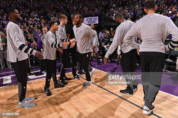 Kawhi Leonard of the San Antonio Spurs is announced before the game against the Sacramento Kings on October 27 2016 at the Golden 1 Center in...