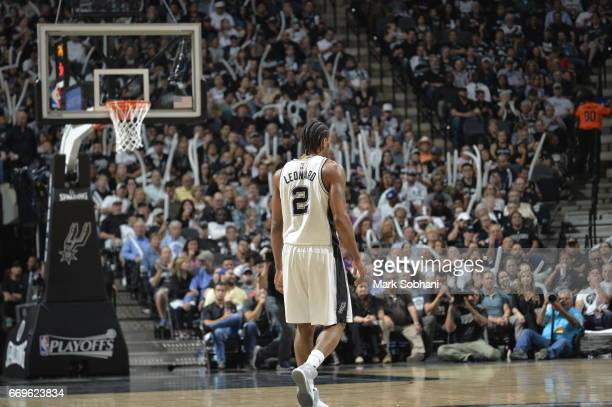 Kawhi Leonard of the San Antonio Spurs is seen against the Memphis Grizzlies during Game Two of the Western Conference Quarterfinals of the 2017 NBA...
