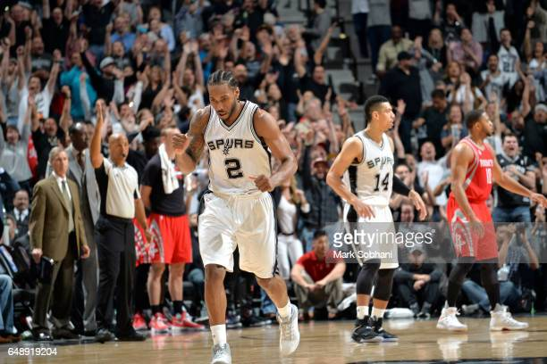Kawhi Leonard of the San Antonio Spurs reacts during the game against the Houston Rockets on March 6 2017 at the ATT Center in San Antonio Texas NOTE...