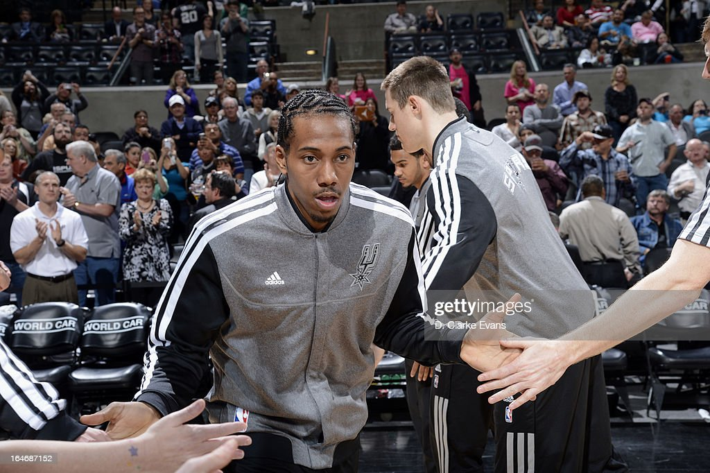 Kawhi Leonard #2 of the San Antonio Spurs runs out before the game against the Sacramento Kings on March 1, 2013 at the AT&T Center in San Antonio, Texas.