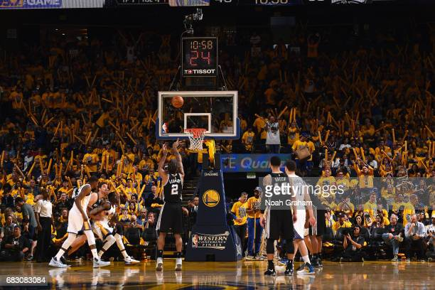 Kawhi Leonard of the San Antonio Spurs shoots a free throw during the game against the Golden State Warriors during Game One of the Western...