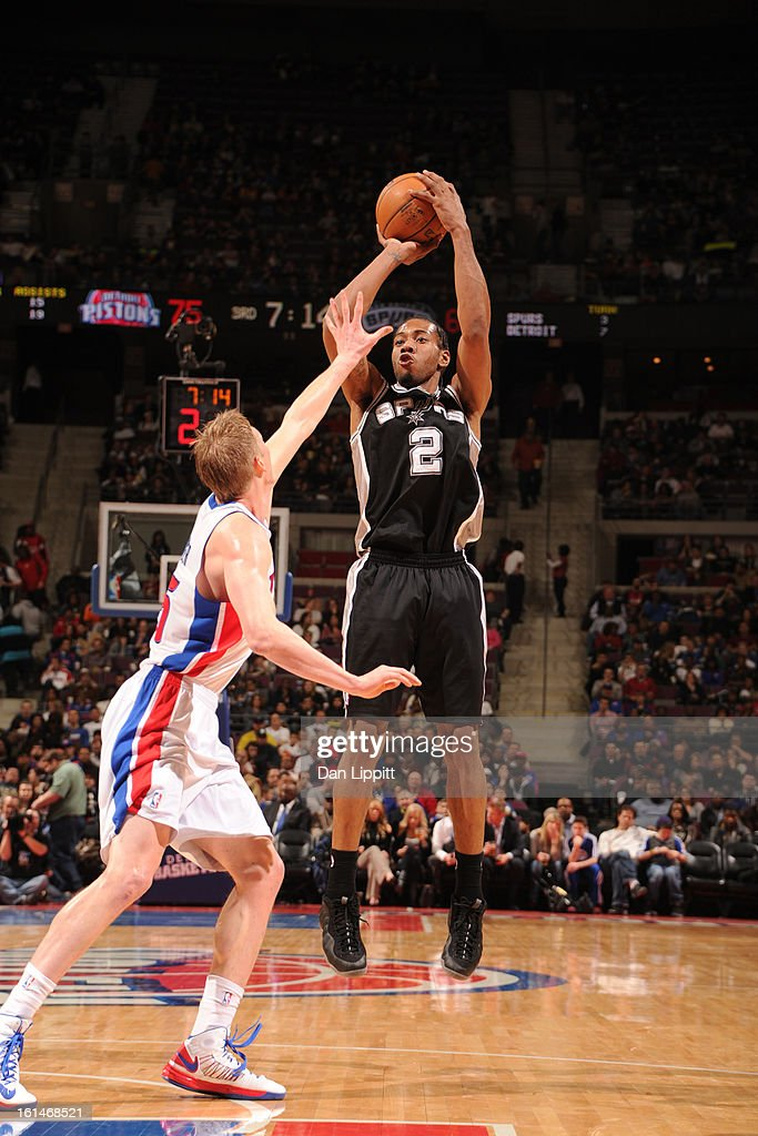 <a gi-track='captionPersonalityLinkClicked' href=/galleries/search?phrase=Kawhi+Leonard&family=editorial&specificpeople=6691012 ng-click='$event.stopPropagation()'>Kawhi Leonard</a> #2 of the San Antonio Spurs shoots against the Detroit Pistons on February 8, 2013 at The Palace of Auburn Hills in Auburn Hills, Michigan.