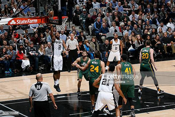 Kawhi Leonard of the San Antonio Spurs shoots the ball against the Utah Jazz on January 6 2016 at the ATT Center in San Antonio Texas NOTE TO USER...