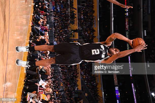 Kawhi Leonard of the San Antonio Spurs shoots the ball against the Los Angeles Lakers on November 18 2016 at STAPLES Center in Los Angeles California...