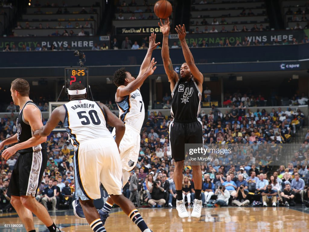 Kawhi Leonard #2 of the San Antonio Spurs shoots the ball against the Memphis Grizzlies during Game Three of the Western Conference Quarterfinals of the 2017 NBA Playoffs on April 20, 2017 at FedExForum in Memphis, Tennessee.