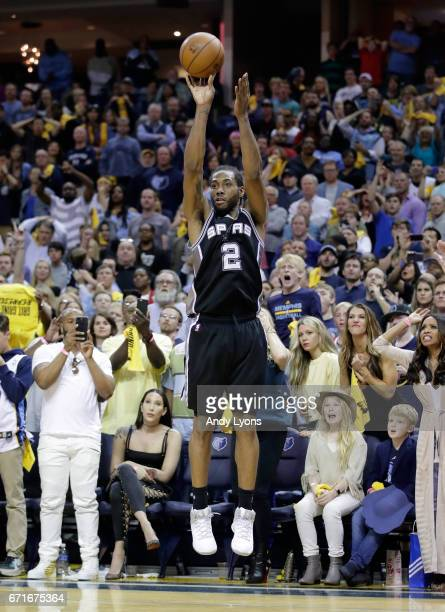 Kawhi Leonard of the San Antonio Spurs shoots the ball against the Memphis Grizzlies in game four of the Western Conference Quarterfinals during the...