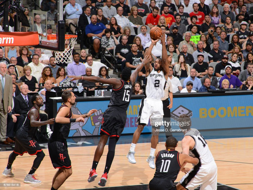 Kawhi Leonard #2 of the San Antonio Spurs shoots the ball against the Houston Rockets during Game Two of the Western Conference Semifinals of the 2017 NBA Playoffs on May 3, 2017 at the AT&T Center in San Antonio, Texas.