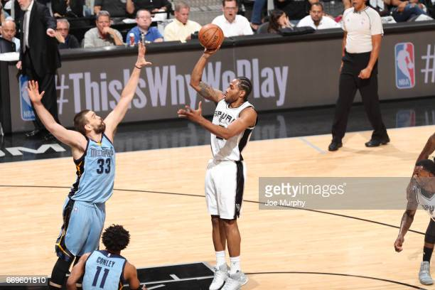 Kawhi Leonard of the San Antonio Spurs shoots the ball during a game against the Memphis Grizzlies during Game Two of the Western Conference...