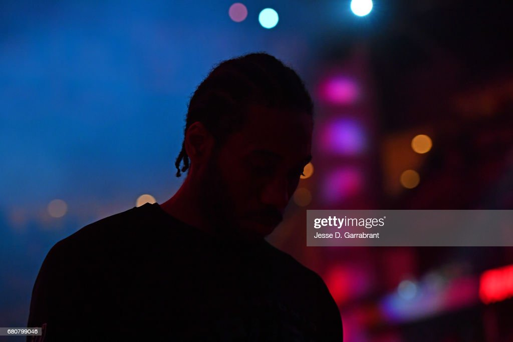 Kawhi Leonard #2 of the San Antonio Spurs stands on the court before Game Four of the Western Conference Semifinals against the Houston Rockets during the 2017 Playoffs on May 7, 2017 at the Toyota Center in Houston, Texas.