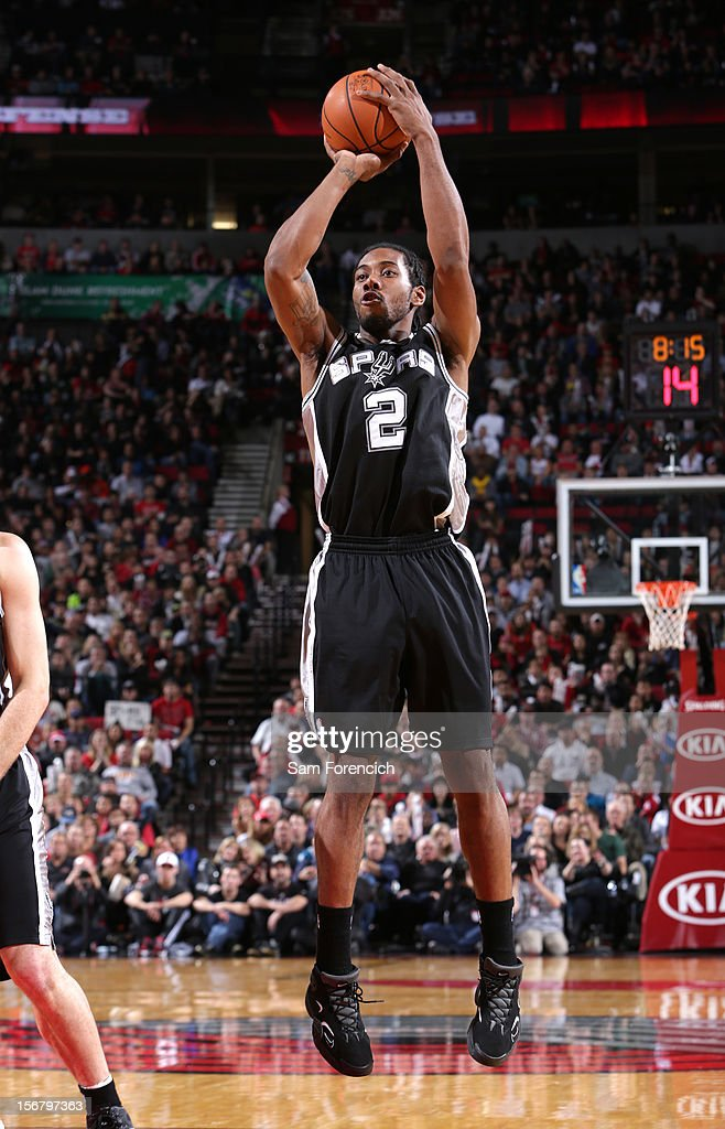 <a gi-track='captionPersonalityLinkClicked' href=/galleries/search?phrase=Kawhi+Leonard&family=editorial&specificpeople=6691012 ng-click='$event.stopPropagation()'>Kawhi Leonard</a> #2 of the San Antonio Spurs takes a jump shot against the Portland Trail Blazers on November 10, 2012 at the Rose Garden Arena in Portland, Oregon.