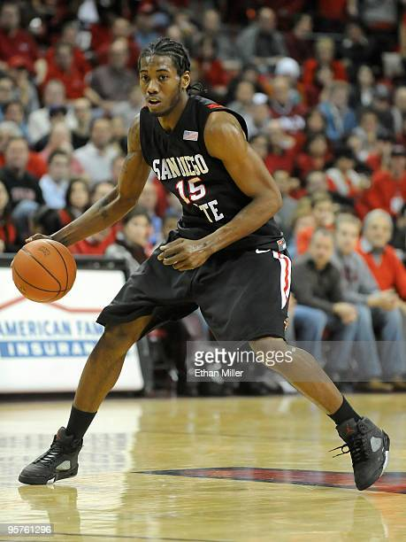 Kawhi Leonard of the San Diego State Aztecs brings the ball up the court during a game against the UNLV Rebels at the Thomas Mack Center January 13...
