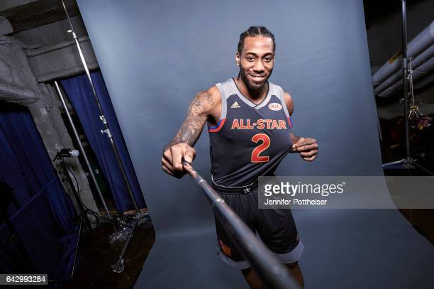 Kawhi Leonard of the Western Conference AllStars poses for a portrait during the NBA AllStar Game as part of 2017 AllStar Weekend at the Smoothie...