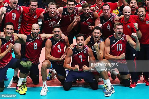 Kawika Shoji and United States team mates celebrate as they secure the bronze medal during the Men's Bronze Medal Match between United States and...