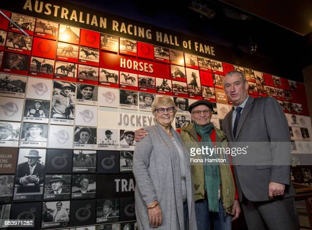 Kay and JJ Miller with Greg Carpenter at National Sports Museum on May 17 2017 in Melbourne Australia