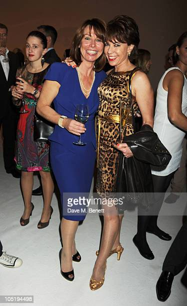 Kay Burley and Kathy Lette attend the NatMag 100 Year Anniversary party at the Saatchi Gallery on October 11 2010 in London England