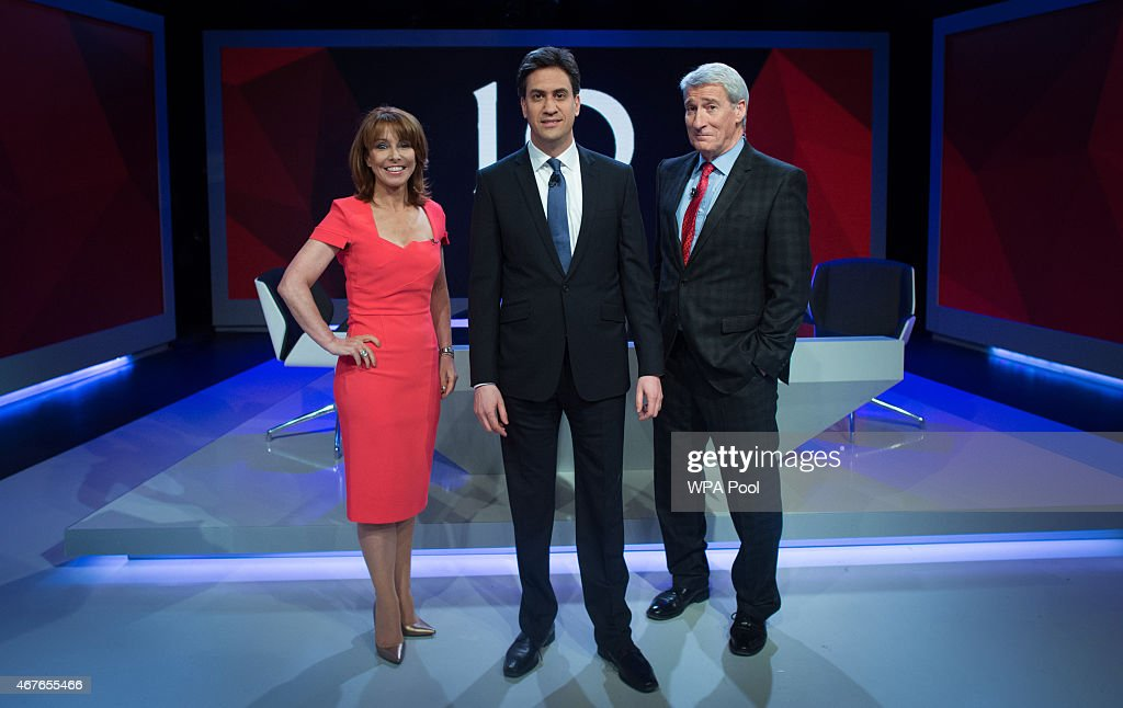 <a gi-track='captionPersonalityLinkClicked' href=/galleries/search?phrase=Kay+Burley&family=editorial&specificpeople=5407485 ng-click='$event.stopPropagation()'>Kay Burley</a> of Sky News poses with Labour Party Leader <a gi-track='captionPersonalityLinkClicked' href=/galleries/search?phrase=Ed+Miliband&family=editorial&specificpeople=4376337 ng-click='$event.stopPropagation()'>Ed Miliband</a> (C) and and <a gi-track='captionPersonalityLinkClicked' href=/galleries/search?phrase=Jeremy+Paxman&family=editorial&specificpeople=712796 ng-click='$event.stopPropagation()'>Jeremy Paxman</a> of Channel 4 ahead of the filming of 'Cameron & Miliband ; The Battle For Number 10' on March 26, 2015 in London, England. The TV show will air tonight at 9pm on Sky News.
