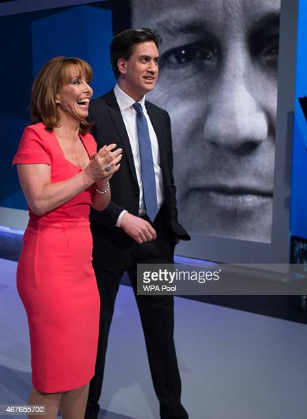 Kay Burley of Sky News walks with Labour Party Leader Ed Miliband ahead of the filming of 'Cameron Miliband The Battle For Number 10' on March 26...