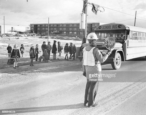 Kay Eflin Helps Direct Traffic At Busy School Crossing Littleton Mothers Establish Volunteer Bus Crossing Guard Credit Denver Post