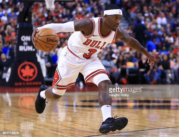 Kay Felder of the Chicago Bulls dribbles the ball during to the first half of an NBA game against the Toronto Raptors at Air Canada Centre on October...