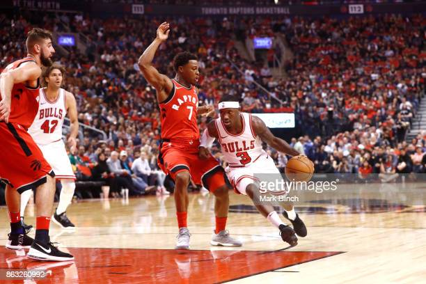 Kay Felder of the Chicago Bulls handles the ball against Kyle Lowry of the Toronto Raptors during the game on October 19 2017 at the Air Canada...