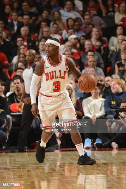 Kay Felder of the Chicago Bulls handles the ball during the game against the Toronto Raptors on October 19 2017 at the Air Canada Centre in Toronto...