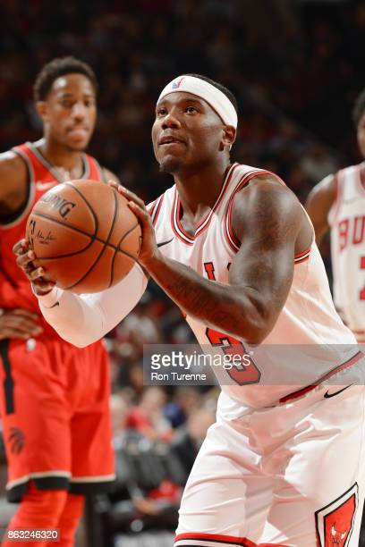 Kay Felder of the Chicago Bulls shoots the ball during the game against the Toronto Raptors on October 19 2017 at the Air Canada Centre in Toronto...
