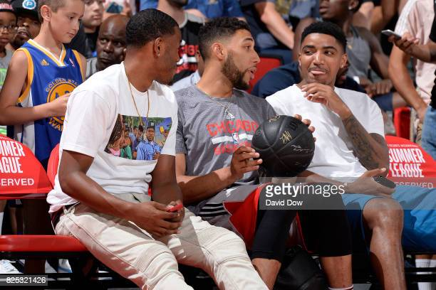 Kay Felder of the Cleveland Cavaliers Denzel Valentine of the Chicago Bulls Gary Harris of the Denver Nuggets are seen at the game between the Utah...