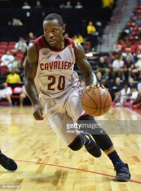 Kay Felder of the Cleveland Cavaliers drives against the Los Angeles Lakers during the 2017 Summer League at the Thomas Mack Center on July 13 2017...