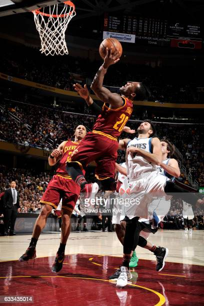 Kay Felder of the Cleveland Cavaliers goes for the lay up during the game against the Minnesota Timberwolves on February 1 2017 at Quicken Loans...