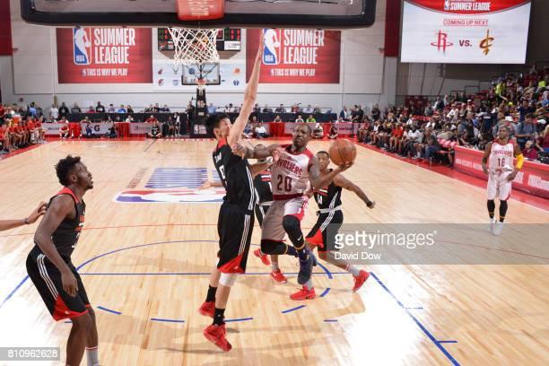 Kay Felder of the Cleveland Cavaliers goes to the basket against the Houston Rockets during the 2017 Las Vegas Summer League on July 8 2017 at the...