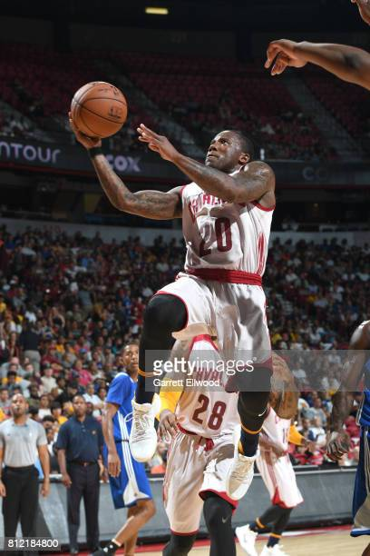 Kay Felder of the Cleveland Cavaliers goes to the basket against the Golden State Warriors on July 10 2017 at the Thomas Mack Center in Las Vegas...